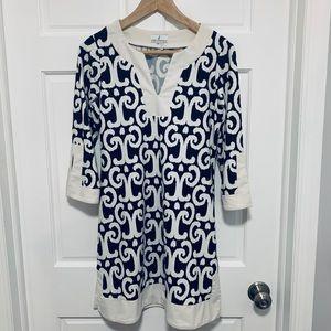 Jude Connally Navy/White 3/4 sleeve Dress
